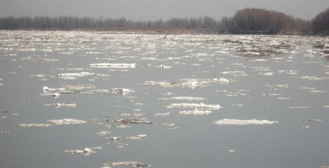 Ice melting in April on Ob