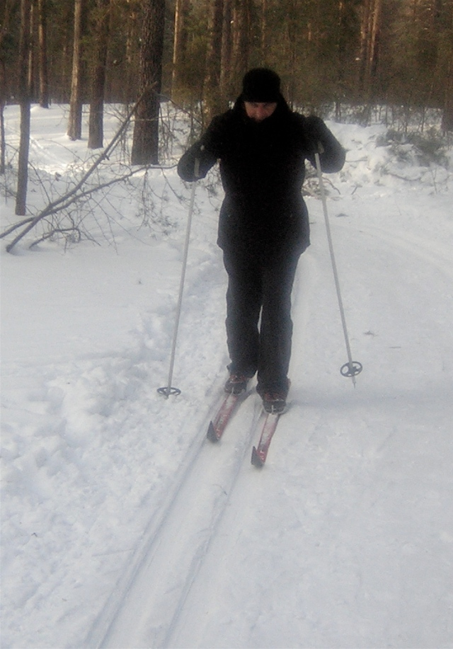 Me trying forest skiing in Siberia